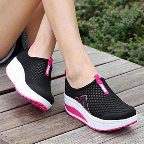 Outdoor Stoff Atmungsaktiv Freizeitschuhe Damen Ohne Schnüren Geschlossen Ansenesna Blockabsatz Schwarz Schuhe HUW8F