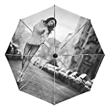 Compact Travel Umbrella Auto Open Close Handle Windproof Lightweight with Ballet Dancer On The Street for Women and Kids