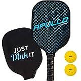 Pickleball Paddle with 2 Pickleballs   Lightweight   Apollo Premium Graphite/Carbon Fiber   Meets USAPA Specifications