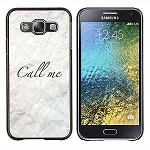 Stuss Case / Funda Carcasa protectora - Llámeme arrugado papel Caligrafía - Samsung Galaxy E5 E500
