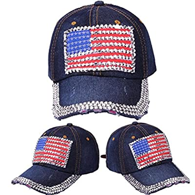 Litetao Men Women Caps, Baseball Caps, USA Denim Rhinestone Snapback Hip Hop Flat Hats For Running, Workouts and Outdoor Activities by Litetao