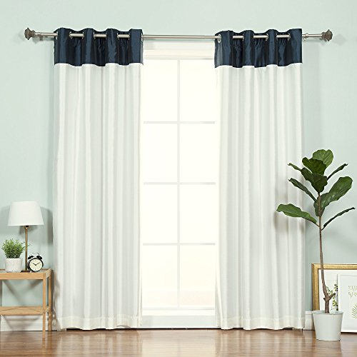 Best Home Fashion Topborder Faux Silk Blackout Curtain - Stainless Steel Nickel Grommet Top  - Navy/Ivory - 52