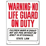 Poolmaster Sign for Residential or Commercial Swimming Pools - Oregon Compliant, Warning No Lifeguard on Duty