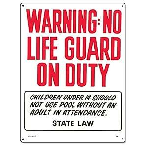 PoolMaster 40323–Advertencia no Lifeguard On Duty Cartel Comercial Piscinas–Oregon Compatible