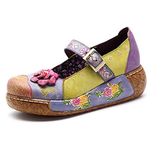 socofy Wedges Sandals, Women's Colorful Flower Vintage Slip-on Leather Shoes Platform Sandal Purple #3 6 B(M) US