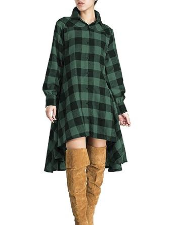 d395c177e1 Tribear Women s Oversize Loose Asymmetrical Long Sleeve T Shirt Dress Small  Green