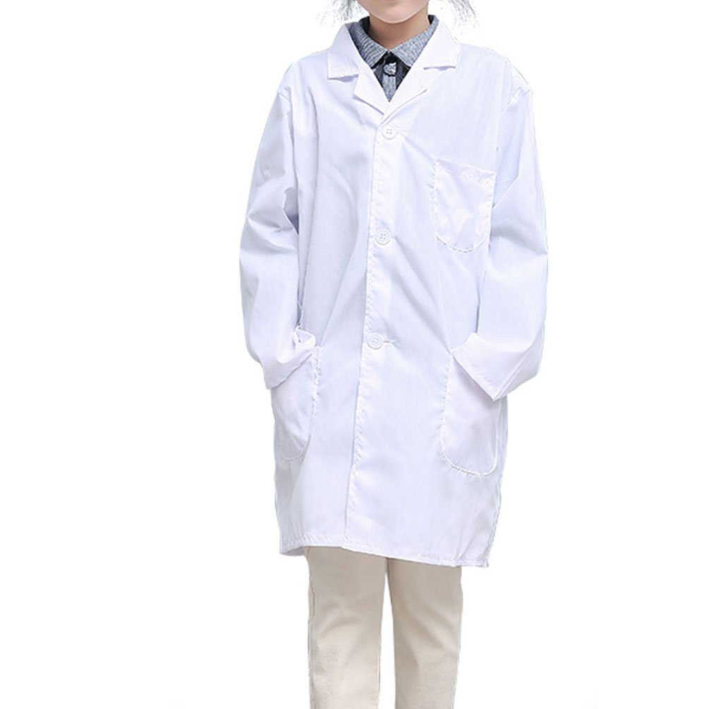 CLanItris America Kids Unisex Doctor Lab Coat for Scientist Role Play Costume Set - Soft Touch (Large,White)