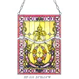 HF-310 Tiffany Style Stained Glass Royal Luxury Crown Theme Rectangle Window Hanging Glass Panel Sun Catcher, 24'' Hx18 W