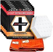 AutoERASERS Instant Detailing Sponge & Microfiber Bundle, 8 Premium Pre-Moistened Dual-Sided Auto Cleaning