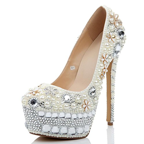 de la la sandalias partido boda lujosos nightclub perla white fiesta del calzado thin cristal de de mujer cuero la bombas heels de de noche de artesanías high diamantes 6znTFqw