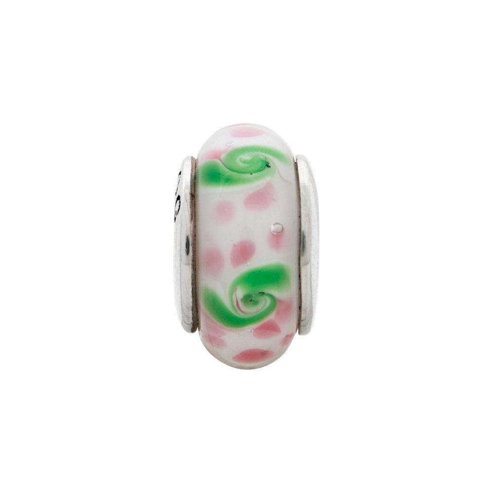 Jewel Tie 925 Sterling Silver Reflections Pink//Green Hand-blown Glass Bead 7.3mm x 13.6mm
