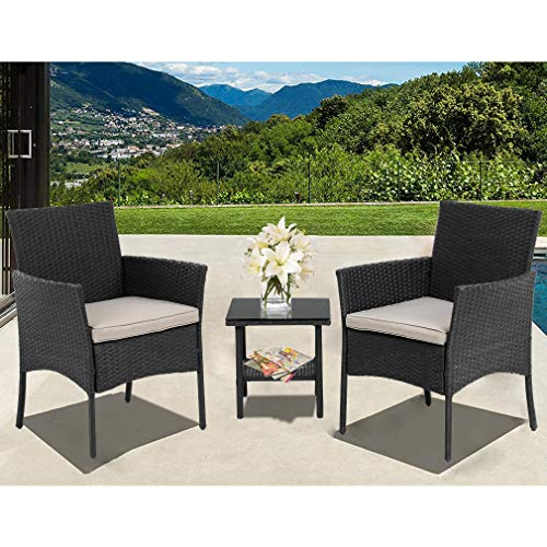 (FDW Patio Furniture Sets 3 Pieces Outdoor Bistro Set Rattan Chairs Wicker Conversation Sets with Table Outdoor Garden Furniture)