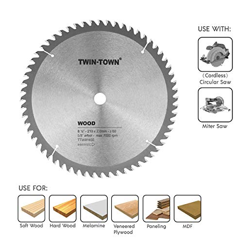 TWIN-TOWN 8-1/4-Inch Saw Blade, 60 Teeth,General Purpose for Soft Wood, Hard Wood, Chipboard & Plywood, 5/8-Inch DMK Arbor