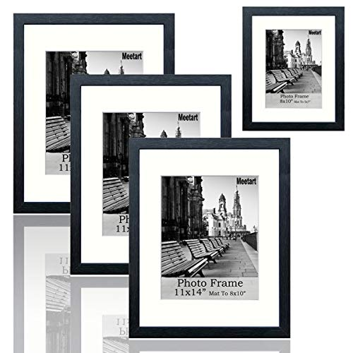 Picture Frames Mdf - meetart Black Picture Frames 11x14 Pack of 3 Piece and Extra 1 Piece of 8x10, MDF Wood Frame, Display Pictures 11x14 8x10 and 5x7, Wall Hanger Vertical and Horizontal.