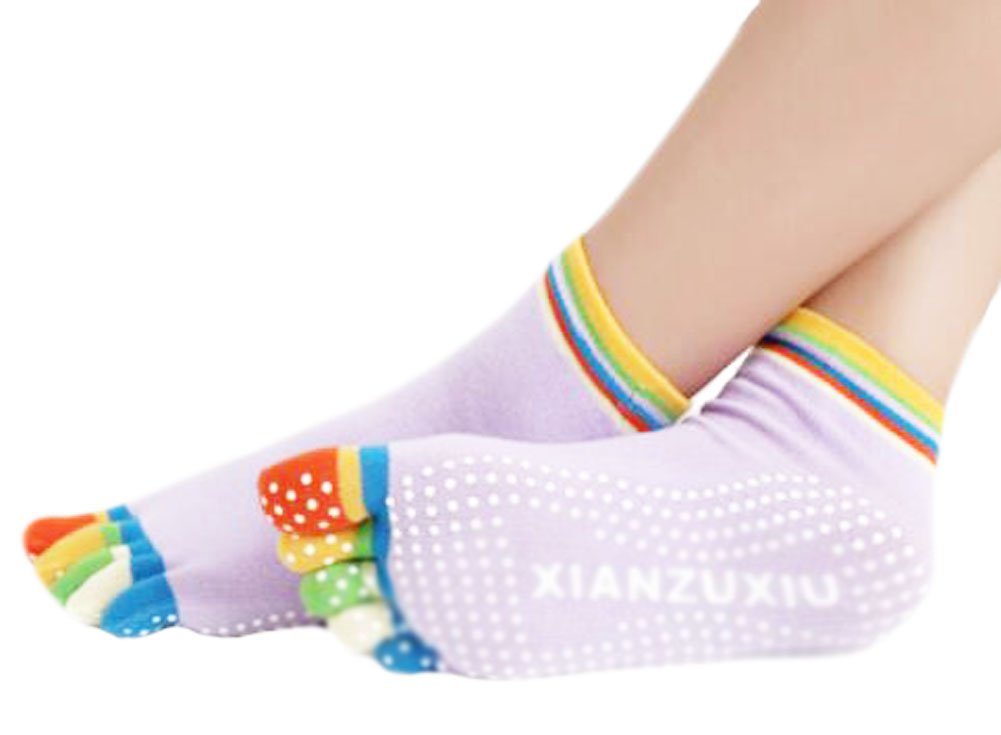 Purple Thicken Non Slip Women Cotton Toe Yoga Socks
