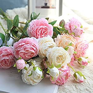 Morrivoe Artificial Rose, Multicolor Real Looking Artificial Fabric Fake Flowers Leaf Home Decor Bridal Bouquet for Wedding Garden Party Home Room Decor Western Rose 39