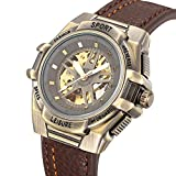 Carrie Hughes Men's Steampunk Gold Skeleton Luminous hand Waterproof Automatic Mechanical Watch CH9666