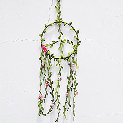 Onnekas Peace Vines Floral Dreamcatcher Wall Hanging, Bedroom Decor, Self Healing, Meditation, Reiki, Hippie - Native Americans believe that the night air is filled with dreams both good and bad. The dream catcher when hung over or near your bed swinging freely in the air, catches the dreams as they flow by. All dreamcatchers look beautiful in any boho bedroom,nursery or home. They make a wonderful unique statement at weddings and are perfect for wedding, babyshower or birthday gifts. Dream catcher will defend you and your family from bad dreams and fight against evil spirits trying to creep into your house at night because they will become confused and tangled in its web. Dreamcatcher brings love, light and positive energy and allows only your good dreams to slip down the feathers to bless you while you're sleeping. The bad dreams will perish with the first light of dawn. - living-room-decor, living-room, home-decor - 51CkoJdUnfL. SS400  -