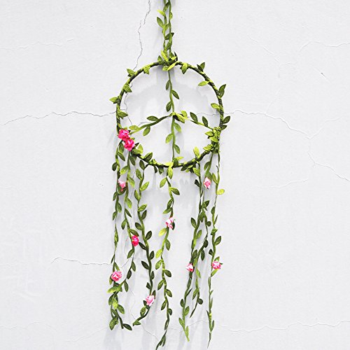 New Arrival Handmade Creative Peace Sign with Simulation Rose Vine Dream Catcher Lucky Wall Hanging Home Decor Ornament