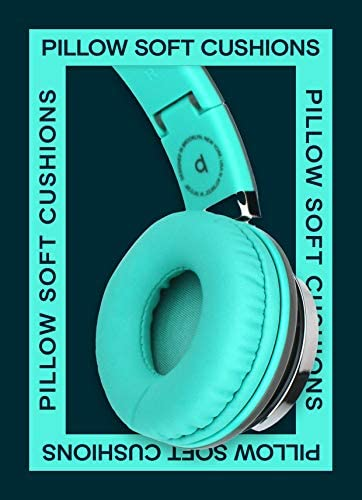 Artix CL750 Foldable Noise Isolating On Ear Headphones Wired with Microphone and Volume Control, Stereo Head Phones Corded with Adjustable Headband for Computer, Laptop and Cell Phone (Turquoise/Gray) 51CkoZCMPKL