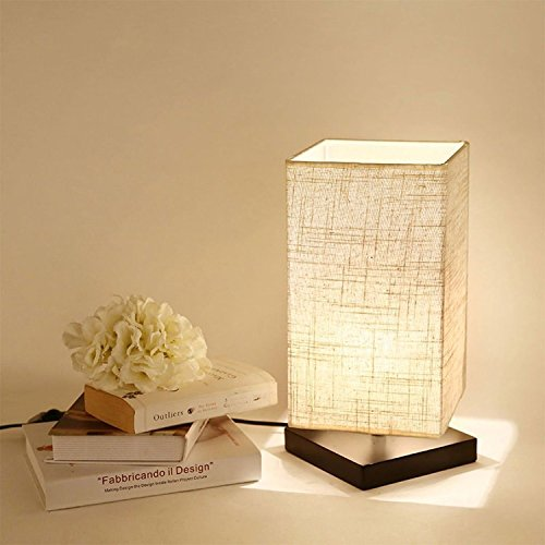 Cheap KALRI Bedside Table Lamp, Minimalist Solid Wood Table Lamp Bedside Desk Lamp with Fabric Shade Modern Night Light for Bedroom, Living Room, Office