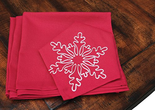 [Xia Home Fashions Snowy Noel Embroidered Snowflake Christmas Napkins (Set of 4), 20 by 20