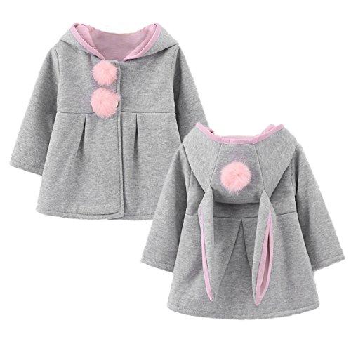 - JUNG KOOK Baby Girl's Fall Winter Coat Jacket Cartoon Outerwear Bunny Ears Hoodie Gray
