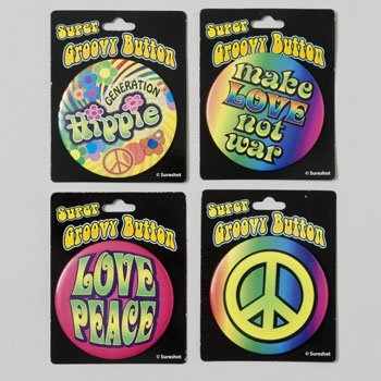 Hippie 60s Party Costume Buttons 4 Pack Assorted 2.5 Inch