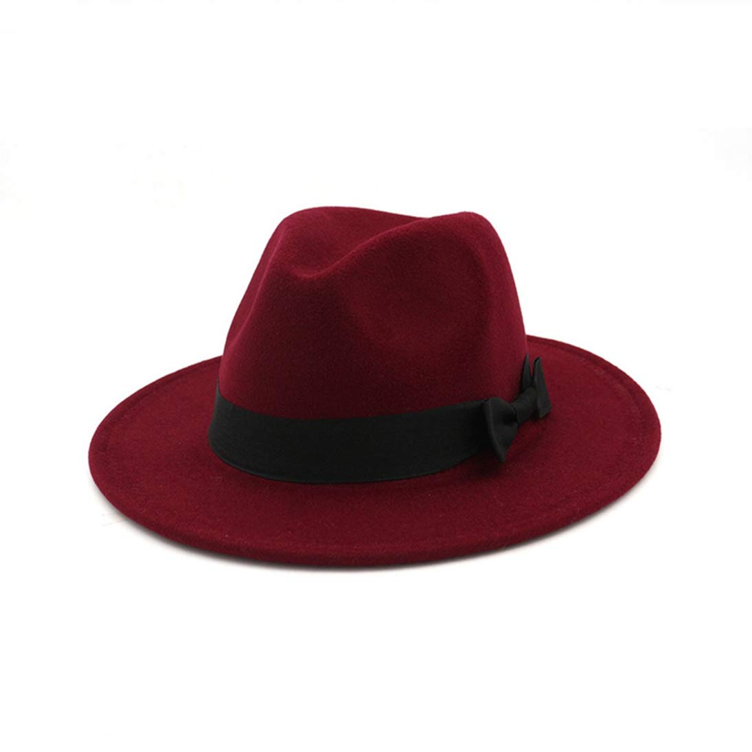 Wool Felt Wide Brim Fedora Hats for Men Women Unisex Classic Trilby Jazz Hat with Black Bowknot Band