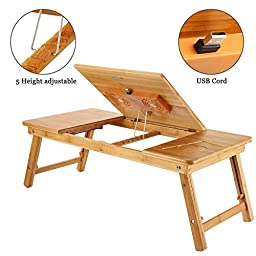 Laptop Tray Desk NNEWVANTE Bamboo Adjustable Table with USB Fan2 Foldable Breakfast Serving Bed Tray Large Size
