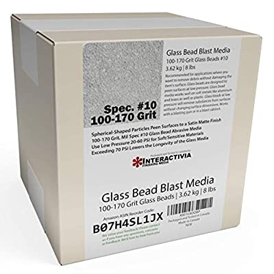 8 lb or 3.6 kg #10 Glass Bead Blasting Abrasive Peening Media (Extra Fine)100-170 Grit Or Commercial Spec No 10 for Blast Cabinets Or Sand Blasting Guns