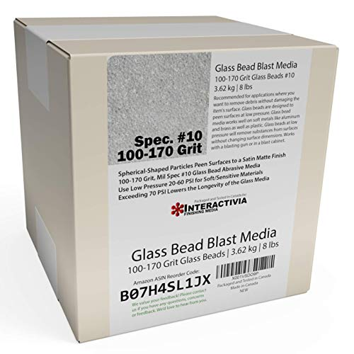 8 lb or 3.6 kg #10 Glass Bead Blasting Abrasive Peening Media (Extra Fine)100-170 Grit Or Commercial Spec No 10 for Blast Cabinets Or Sand Blasting Guns ()