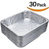 "DOBI (30-Pack) Chafing Pans - Disposable Aluminum Foil Steam Table Deep Pans, Half Size - 12 1/2"" x 10 1/4"" x 2 1/2"""