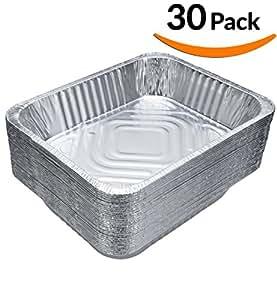 "DOBI (30-Pack) Chafing Pans - Disposable Aluminum Foil Steam Table Deep Pans, Half Size - 9"" x 13"""