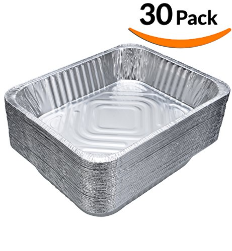 DOBI (30-Pack) Chafing Pans – Disposable Aluminum Foil Steam Table Deep Pans, Half Size – 9″ x 13″