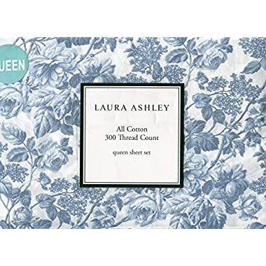 Laura Ashley Crawford Blue Sheet Set, Queen Size
