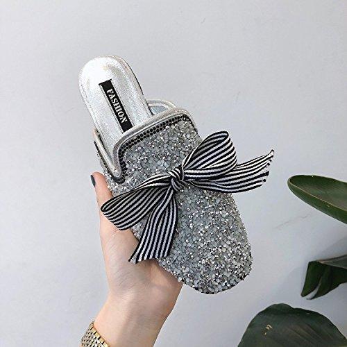 Chaussures Silver Chausson Chaussures Printemps HONG Nouveau Mode Tête 36 Demi JIA 36 Mules Cool été Baotou Plate Pantoufles Silver Coréenne Strass XHxpF