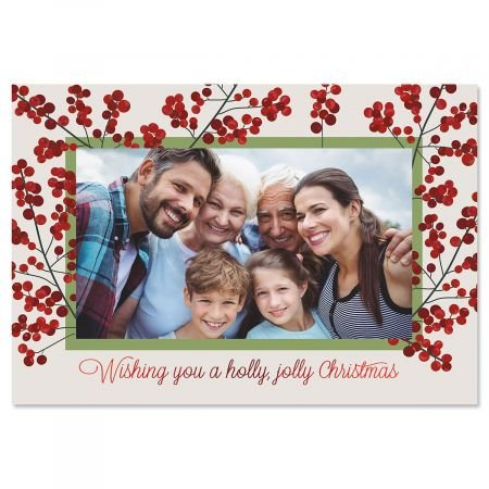 Deluxe Christmas Card Holly Jolly Photo Frames - Red Foil, Set of 18 Cards and Envelopes, Fits 4 x 6-inch Photos, by Current