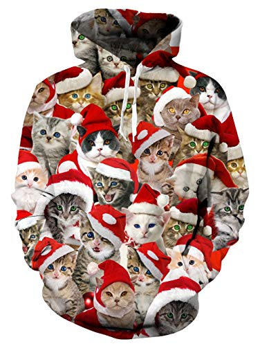 Men's Santa Cat Christmas Hoodie Sweater 80s Ugly Xmas Pullover Long Sleeve Personalized Fleece Hooded Sweatshirts ()