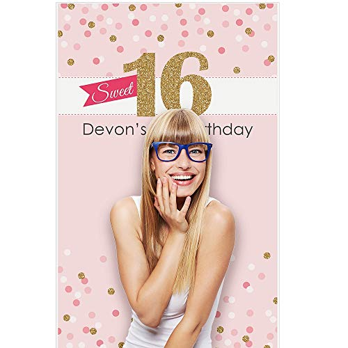Personalized Photo Banner - Big Dot of Happiness Custom Sweet 16 - Personalized 16th Birthday Party Photo Booth Backdrops - 36