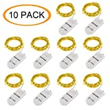 BIG HOUSE Led Fairy Lights 10 Pack Battery Operated Micro Lights 2m/6.6ft 20 LEDs String Lights Copper Wire Waterproof Lights for Holiday Costume Wedding Party Decorations, Warm White