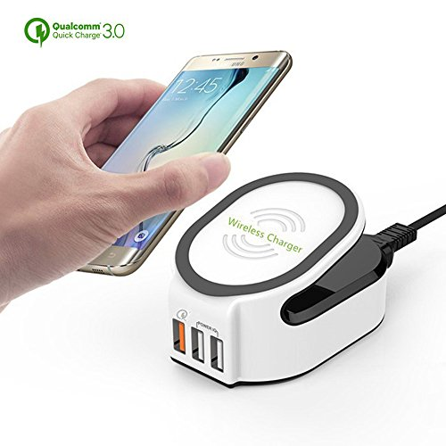 FunPay 3 in 1 Wireless Fast Charger Charging Stand Pad Quick Charge 3.0 with 50W 3-Port for Samsung Galaxy S7 S6 Edge S8 Plus (White) (Lg 35 Optimus Case)