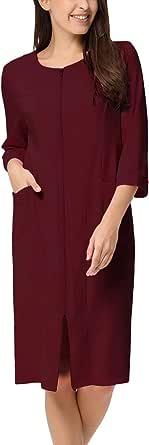 Zexxxy Women Cotton Bathrobe Sleepwear Half Sleeve Zipper Pajama S-2XL
