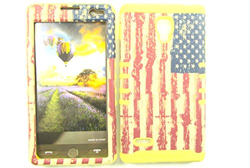 LG OPTIMUS L9 CASE USA FLAG YE-TE529 HEAVY DUTY HIGH IMPACT HYBRID COVER YELLOW SILICONE SKIN P769
