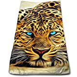 Leopard Blue Eyes Microfiber Clean Towels Face Towels Fast Drying...