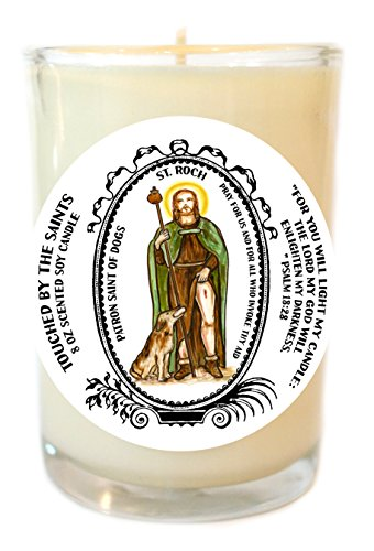Saint Roch Patron of Dogs 8 Oz Scented Soy Glass Prayer Candle by Touched By The Saints
