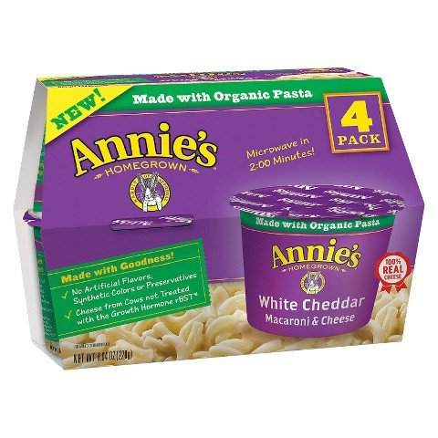 Annie's Homegrown White Cheddar Single Serving Microwavable Macaroni & Cheese Cup 4 ct