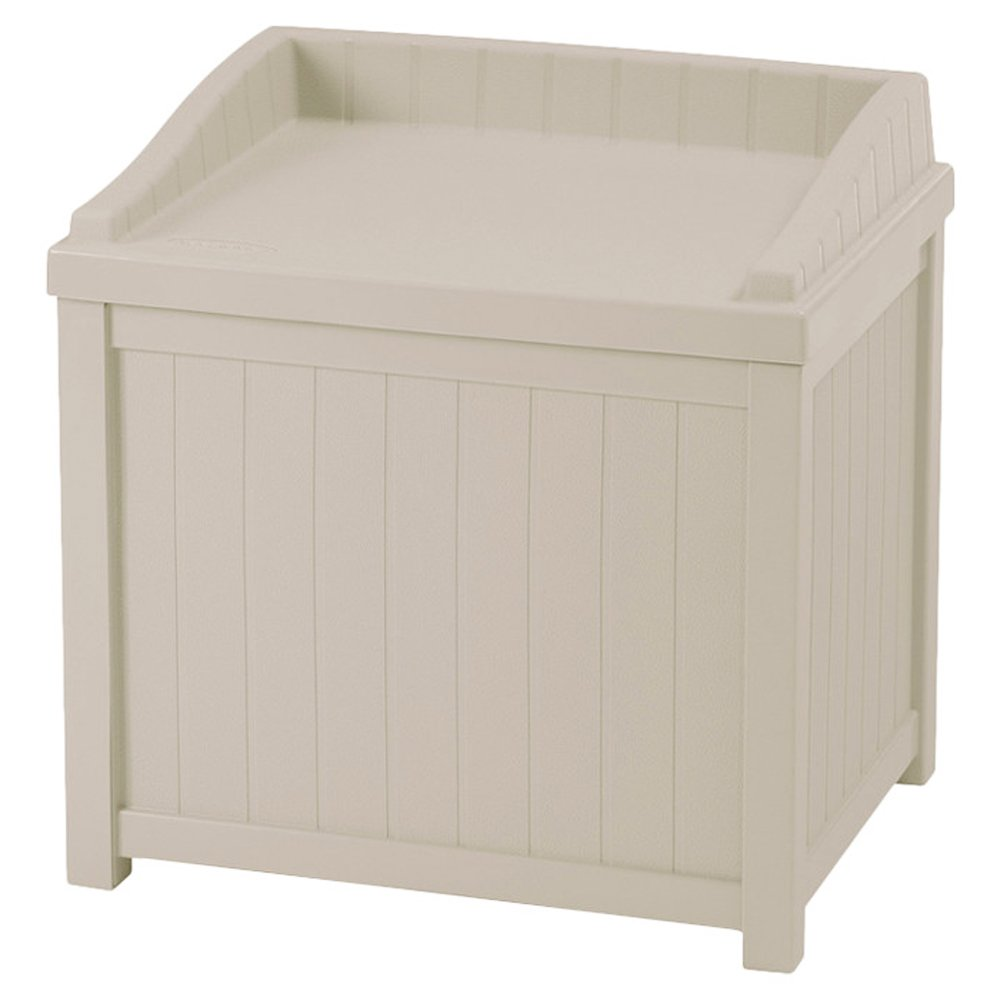 Holliston Garden Storage Deck Box 22 Gallons Resin Outdoor Patio Bench in Light Taupe Color