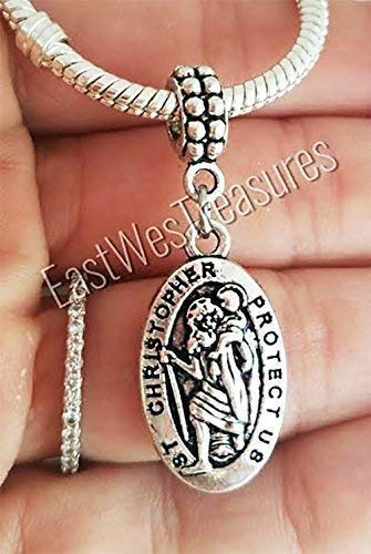 Saint St Christopher travel Protection charms pendant for charm bracelet and chain necklace ()