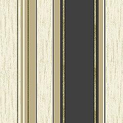 Vymura Synergy Striped Wallpaper Cream / Gold / Black (M0909)